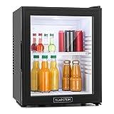 Klarstein MKS-13 Black Edition - Nevera Vinoteca, Minibar, Mininevera, Volumen 32 litros, clase de eficiencia energética F, Silencioso 0 dB, Bajo Consumo, Puerta Cristal, Negro