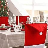 Dioxide 4 Piezas de Fundas para sillas con Gorro de Papá Noel, Funda Trasera de Silla con temática navideña, decoración de Mesa de Cena roja y Blanca para Celebraciones de Fiestas de Navidad(Grueso)