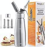 Runesol Sifon de cocina para espumas Profesional, Dispensador de crema batida de aluminio premium, sifón de nata con 3 boquillas de acero inoxidable, dispensador de crema fresca
