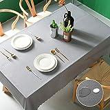 Pahajim Moderno Mantel de PVC Color Liso Mantel Impermeable Mantel Mesa Rectangular Antimanchas Tablecloths para (Gris, Rectangular/Oval,140x260cm,8-10 Asientos)