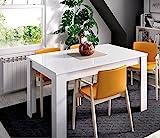 LIQUIDATODO  - Mesa extensible de 140x90cm moderna y barata ext a 190cm en blanco brillo