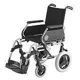 Silla de ruedas Breezy 250 en acero cromado con ruedas pequeñas de 12' asiento de 43 cm