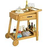 SoBuy FKW89-N Camarera de Bambú para Bebidas,con 2 Cajones y 2 Ruedas 90 * 47 * 85 cm ES