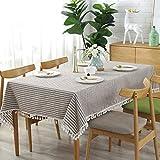 Meiosuns Manteles rectangulares Mantel Borla de rayas Cubierta de mesa Material de algodón y lino Adecuado para interiores y exteriores(140 × 220 cm,Marrón/rayas blancas)