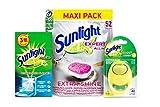 Sunlight Expert - Juego de 52 pastillas para lavavajillas + aroma a limón para lavavajillas, 60 lavados + limpiador para lavavajillas, 3 bolsas de 40 g