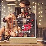 Q&K Arte de Vidrio de Spotify Personalizado Música Placa con Luz de Noche,Placa de Foto de Código de Spotify Escaneable Personalizada,Regalos para Novio, Novia, Tu Madre