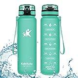 KollyKolla Botella Agua Sin BPA Deportes - 1L, Reutilizables Ecológica Tritan Plástico, Bebidas Botellas con Filtro & Marcador de Tiempo, para Gimnasio, Tapa Abatible de 1 Clic, Verde Bosque Mate