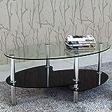 Tidyard Mesa de Centro con Diseño Exclusivo de 3 Niveles Mesa de Cristal Mesita de Noche Mesa de Café de Vidrio para Estar o Dormitorio Vidrio Templado 90x45x43cm Negro