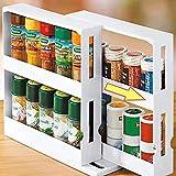 ECOSWAY - Estante de almacenamiento de especias multifunción de 2 niveles, se adapta a hasta 20 tarros de especias, condimento de especias, estante giratorio para cocina, hogar