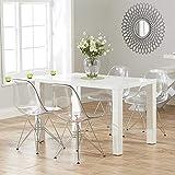 Juego de 4 sillas fantasma de policarbonato + acero para comedor, sala de estar, oficina, restaurante y jardín, 40 x 46 x 81 cm