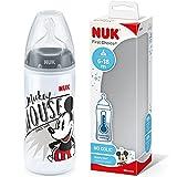 NUK First Choice+ - Biberón de Disney Mickey | 6-18 meses | Indicador de control de temperatura | 300 ml | Válvula anticólicos | Sin BPA | Tetina de silicona | 1 unidad | Gris