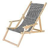 Ferocity Tumbona Plegable de Madera con Reposabrazos y Soporte para Bebidas Silla de Playa Diseño Zig-Zag [119]