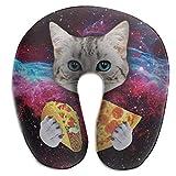 Almohada de viaje en forma de U Almohada de viaje en forma de U Galaxy Space Kitten Cat Eat Taco Pizza para la siesta del vuelo del coche del avión, Cojín de soporte de relajación de la barbilla de l