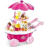 Buyger 39pcs Carrito Compra Helados Juguetes con Luz y Musica Tienda Supermercado Comida Alimentos Educativo Juego para 3 4 5 Años Bebe Niños Niñas