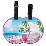 Etiquetas De Equipaje De Cuero Sintético Identificación De Nombre con Cubierta De Privacidad Trasera para Maleta De Viaje, Silla de Playa Palm Tree Vacation