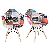 MUEBLES HOME Sillas de comedor Juego de 2 sillas de cocina modernas de mediados de siglo Sillón de tela de estilo lino multicolor con patas de madera para comedor Sillas laterales de sala de estar