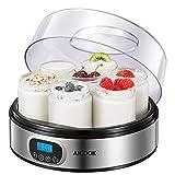 Yogurtera con Tarros y Receta, AICOOK Máquina Eléctrica para Hacer Yogur con 7 Tarros de Vidrio(1400ml) y Pantalla LED con Ajuste de Temporizador Auto Apagado, Acero Inoxidable