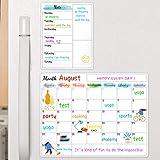 Calendario magnético de borrado en seco para nevera, pizarra blanca, calendario magnético para pared, decoración del hogar, cocina, 15 x 11.5 pulgadas, almohadilla magnética lista de comestibles