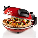 Ariete 909 - Mini horno para pizza en 4 minutos, 1200 W, 5 niveles temperatura, diámetro 33 cm, regulador de tiempo 30 minutos y temperatura, indicador luminosos encendido/apagado, color rojo negro