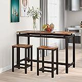 Conjunto de comedor mesa alta con 2 taburetes de bar bar bar bar bar bar bar bar bar bar mesa cocina mesa de cocina y sillas de cocina de diseño industrial comedor salón cocina vintage negro