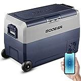 BODEGA 50L Nevera Auto 12V congelador portatil -20℃-20℃ camion frigorifico Playa Camper Nevera portatil con Ruedas pequeña electrica, 12/24V DC,100-240V AC, Manual/Control móvil