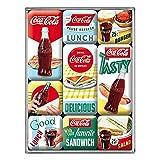 Nostalgic-Art Juego de Imanes Retro Coca-Cola – Delicious – Regalo para Aficionados a Coke, Decoración para la Nevera, Diseño Vintage, 9 Unidades