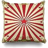 BK Creativity Pillow Cover,Cabaret Red Carnival Circus Vintage Retro Border Your Theater Cool Party Show Fundas De Almohadas Suaves Y Cómodas 50x50cm