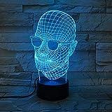 Cool Father's Day Gift Novedad Ligera Ropa para Hombres Lámparas de Gafas Negras Lámparas de Mesa Lámparas de Lava con Cambio de Color Decorativo