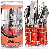 Set de Cubiertos con Soporte de Metal - para 6 Personas - Acero Inoxidable - Apto para Lavavajillas - Naranja