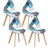 GrandCA HOME Nordica Silla de Comedor Pack 4 Sillas Comedor Madera Moderna para Oficina Cocina-Gris (Azul)