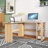sogesfurniture Mesa de Ordenador Escritorio de Esquina en Forma de L, 136 x 130cm PC Escritorio de Oficina, Mesa de Estudio, Estación de Trabajo con 2 Estantes, Arce Blanco BHEU-XTD-SC01-MO