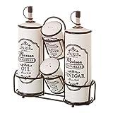 Aceitera vinagrera vintage negra de cerámica para cocina France - LOLAhome