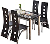 Mesa de cocina y sillas de comedor de respaldo alto cómodas sillas de cuero PU mesas rectangulares de vidrio,Black-4 chairs