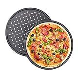 Relaxdays Juego de 2 Bandejas Pizza Horno Redondas, Antiadherentes y Perforadas, Acero al Carbono, Gris, ∅ 32 cm