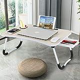 Baodan Mesa de escritorio para ordenador portátil, portátil, plegable, tableta multifunción con ranura para tazas, para desayunar películas en la cama, el sofá o el suelo, color amarillo