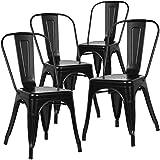 Home Heavenly Pack de Cuatro sillas Comedor, Modelo TOLIX, sillas metalicas apilables Modelo Vintage Industrial, para Uso Interior, envío Desde España. (Negro)