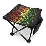 COMMER Jamaica Rasta Lion - Taburete plegable portátil con bolsa de transporte para pesca, senderismo, jardinería y playa, 30,5 x 30,5 cm