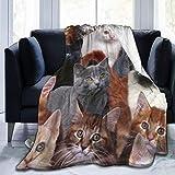 AEMAPE Cat Kitten Lovely Throw Blankets, Manta térmica súper Suave para Interiores y Exteriores, Mantas de Felpa de Microfibra para Acampar para Sala de Estar, Dormitorio, Oficina, Viajes
