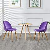 TUKAILAI 2 sillas de comedor tapizadas de tela de terciopelo violeta Sillas cómodas Sillas blandas