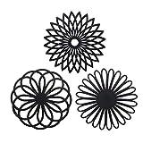 CREATESTAR - Juego de 3 salvamanteles de Silicona Multiusos con diseño de Flores, aislantes, Flexibles, Antideslizantes, Color Negro