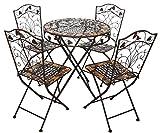 aubaho Mesa y 4 sillas de Hierro Forjado de Hierro Muebles de jardín de Piedra marrón