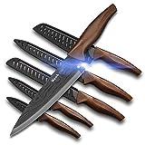 Wanbasion 6 piezas Juego de Cuchillos de Cocina, Cuchillos Cocina profesional chef, set de cuchillos de cocina acero inoxidable Estilo Damasco