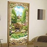BinLZ Arcos Italianos Flores Creativas Pegatinas en Las Puertas Decoración del Hogar Personalizadas Pegatinas de Pared Estéreo 3D, Photo Color, 38.5 * 200cm*2 Pieces