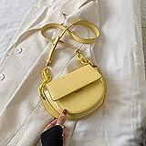 Bolso De Mujer Bolso De Mensajero De Color Sólido De Cuero De PU Bolso De Hombro Pequeño De Moda para Mujer Bolso De Mujer Y Bolso De Silla De Montar 14Cmx22Cmx6Cm Amarillo