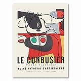 YTHK Cartel de la exposición de Le Corbusier 1954 Museo de Arte francés Impresión Estilo cubismo Mid Century Modern Wall Art Canvas Painting Decor 60x80cm sin Marco