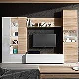 Habitdesign Mueble de Comedor con Leds, Mueble Salon, Modelo Essential, Acabado en Blanco Brillo y Roble Canadian, Medidas: 260 cm (Ancho) x 185 cm (Alto) x 42 cm (Fondo)
