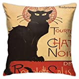 Tourn & Eacute; e Chat Noir por Steinlen Vintage Cabaret Cat Rodolphe Bedding Throw Pillows,18 x 18 Pulgadas,Almohadas para Cama y sofá,Almohadas Decorativas para Interiores
