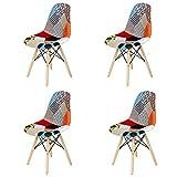 GrandCA HOME Pack de 4 sillas Sillas de Retazos Multicolores en Tela de Lino Sillas de Sala de Estar de Ocio Sillas de Comedor con Respaldo de cojín Suave (Rojo-01)