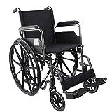 Mobiclinic, modelo S220, Silla de ruedas plegable premium, ortopédica, autopropulsable, para ancianos y minusválidos, reposapiés y reposabrazos abatibles, negro, asiento 43 cm, ultraligera