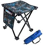 Aiwoxing Taburete Plegable Portátil Silla Portátil, Compacto Ligero para Interiores y Exteriores al Aire Libre de Camping Pesca Senderismo Camping Caza Picnic Viaje, Camuflaje Azul